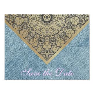 Rosa rústico da sarja de Nimes de jeans do laço do Convite 10.79 X 13.97cm