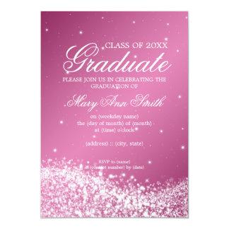 Rosa Sparkling da onda da festa de formatura Convite Personalizados