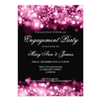 Rosa Sparkling das luzes da festa de noivado do ca Convite
