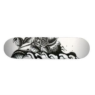 Rosa-tatuagem Shape De Skate 20cm