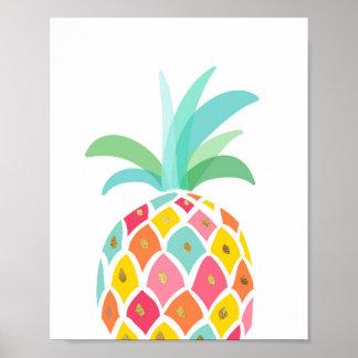 Rosa tropical do impressão da arte do abacaxi da