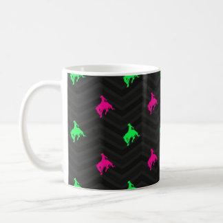 Rosa verde, quente de néon, vaqueiro do rodeio, Ch Canecas