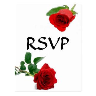 Rosa vermelha da aguarela - cartão de RSVP Cartão Postal