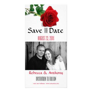 Rosa vermelha da aguarela - salvar o cartão da cartão com foto