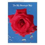 """Rosa vermelha de """"cartão aniversário para a esposa"""