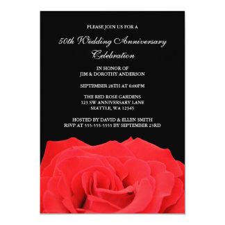 Rosa vermelha e aniversário de casamento do preto convite 12.7 x 17.78cm