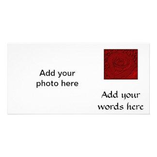 Rosa vermelha escultura cartao com fotos personalizado