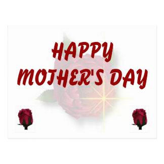 Rosa vermelha feliz do dia das mães cartões postais