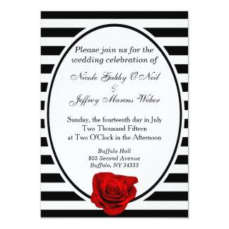 Rosa vermelha preta & listras brancas que Wedding Convite 12.7 X 17.78cm