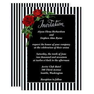Rosa vermelha preto e branco elegante que Wedding Convite 12.7 X 17.78cm