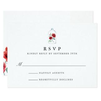 Rosa vermelha que Wedding cartões de RSVP