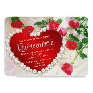 Rosa vermelha Quinceañera Convite 11.30 X 15.87cm