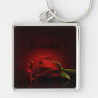 Rosa vermelha sangrenta gótico corrente chave chaveiro quadrado na cor prata