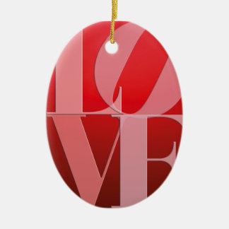 Rosa vermelho romance do amor ornamento de cerâmica oval