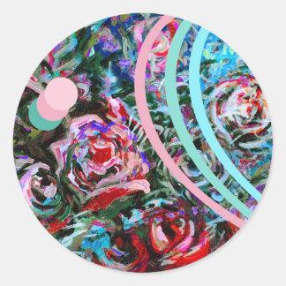 Rosas abstratos no rosa e na turquesa - etiquetas