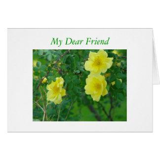 Rosas amarelos da amizade, meu caro amigo cartão