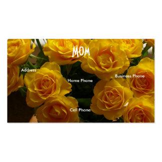 Rosas amarelos da mamã cartão de visita
