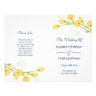 Rosas amarelos do jardim com programa do casamento flyer 21.59 x 27.94cm