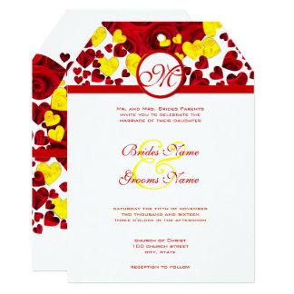Rosas amarelos e vermelhos do coração que Wedding Convite 12.7 X 17.78cm