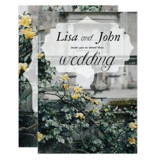 Rosas amarelos elegantes que Wedding o convite