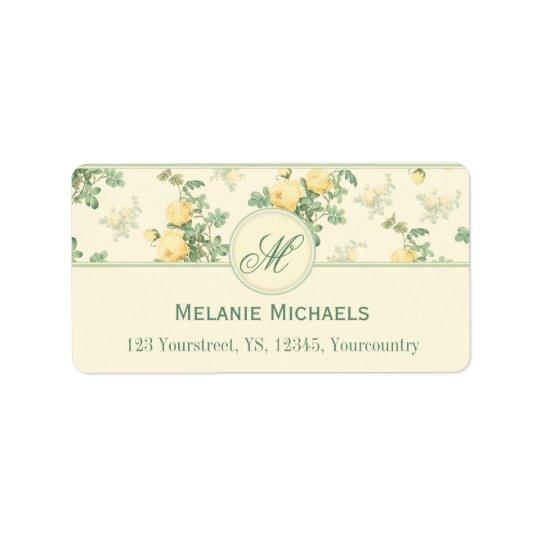 Rosas amarelos florais românticos de etiquetas de etiqueta de endereço