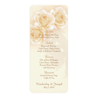 Rosas amarelos & menu do casamento do eucalipto convite 10.16 x 23.49cm