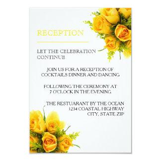 Rosas amarelos no branco - convite da recepção