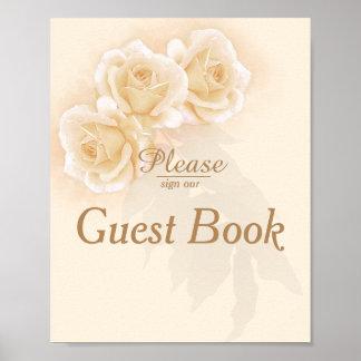 Rosas amarelos & poster do livro de hóspedes do