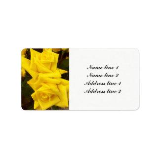 Rosas amarelos que wedding etiquetas de endereço