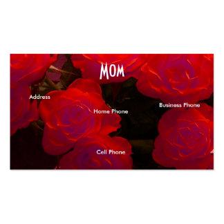 Rosas amarelos vermelhos da mamã cartão de visita