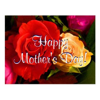 Rosas amarelos vermelhos do dia das mães feliz