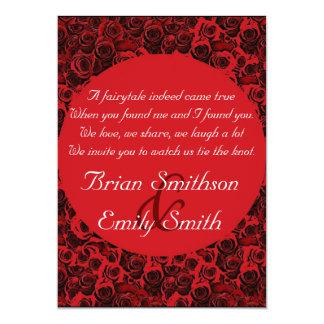 Rosas artísticos brancos pretos vermelhos que convite 12.7 x 17.78cm