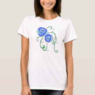 Rosas azuis camiseta
