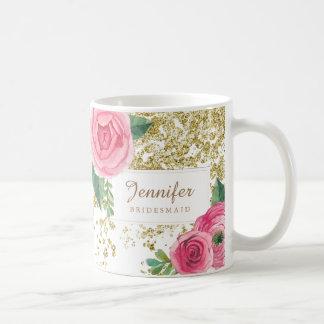 Rosas bonitos do Watercolour com a caneca do