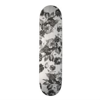 Rosas brancos do preto botânico do vintage florais shape de skate 20,6cm