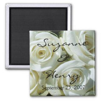 Rosas brancos personalizados que Wedding Imã