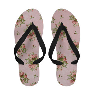 Rosas cor-de-rosa bonito sandalias rasteiras