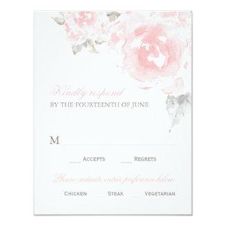 Rosas cor-de-rosa da aguarela do cartão   da convite 10.79 x 13.97cm