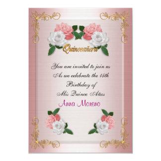 Rosas cor-de-rosa do 15o aniversário do convite de