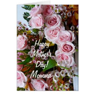 Rosas cor-de-rosa do Day-Momma/da mãe feliz Cartão Comemorativo