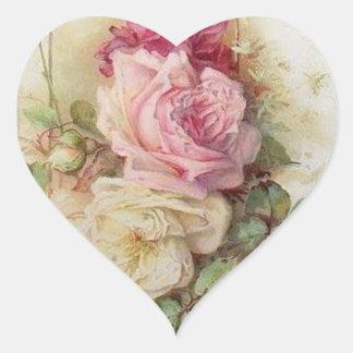 Rosas cor-de-rosa e brancos do Victorian do Adesivo Coração