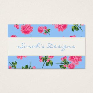 Rosas cor-de-rosa em cartões de visitas florais