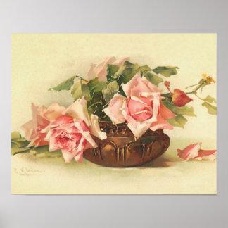 Rosas cor-de-rosa em uma bacia pelo poster de Cath