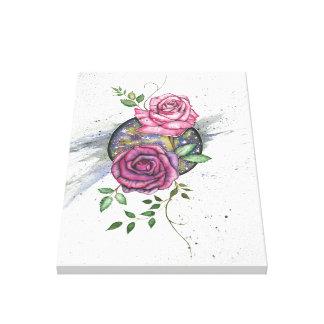 Rosas cor-de-rosa no espaço, impressão das canvas
