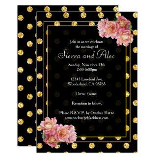 Rosas cor-de-rosa no ouro e em bolinhas pretas convite 12.7 x 17.78cm