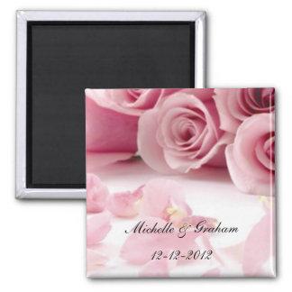 Rosas cor-de-rosa que Wedding o ímã da lembrança Ímã Quadrado
