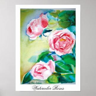 Rosas da aguarela pôster