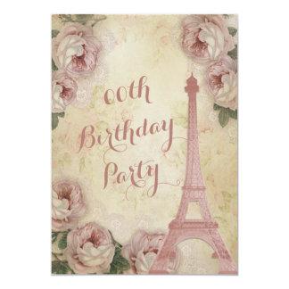 Rosas da couve da torre Eiffel alguma festa de Convite 12.7 X 17.78cm