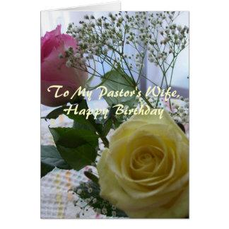 Rosas da esposa do pastor do feliz aniversario cartão comemorativo