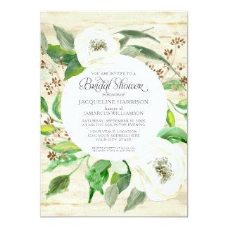 Rosas da grinalda da folha do eucalipto do chá de convite 12.7 x 17.78cm